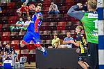James Scott jr. (HBW Balingen #24) ; Johannes Bitter (TVB Stuttgart #1) ; BGV Handball Cup 2020 Halbfinaltag: TVB Stuttgart vs. HBW Balingen-Weilstetten am 11.09.2020 in Ludwigsburg (MHPArena), Baden-Wuerttemberg, Deutschland<br /> <br /> Foto © PIX-Sportfotos *** Foto ist honorarpflichtig! *** Auf Anfrage in hoeherer Qualitaet/Aufloesung. Belegexemplar erbeten. Veroeffentlichung ausschliesslich fuer journalistisch-publizistische Zwecke. For editorial use only.