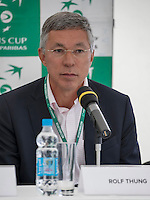 Moscow, Russia, 14 th July, 2016, Tennis,  Davis Cup Russia-Netherlands, Start of the draw Chairman of the Dutch tennis federation KNLTB Rolf Thung<br />