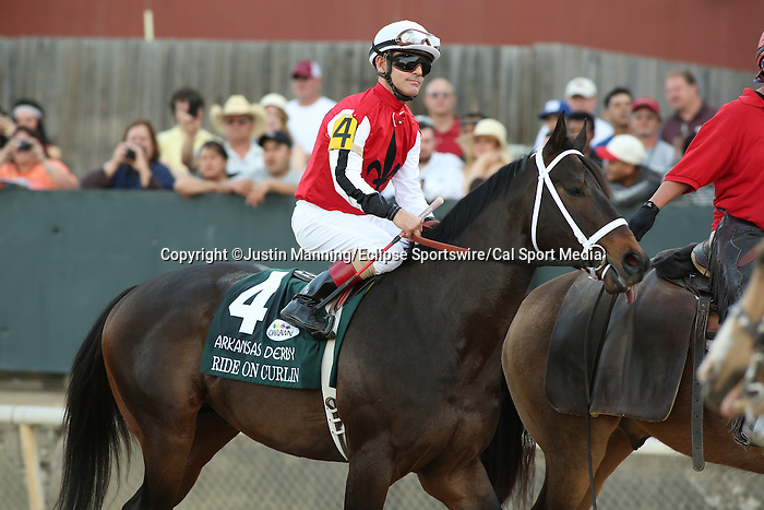April 12, 2014: #4 Ride On Curlin with jockey Jon Court aboard during post parade before the running of the Arkansas Derby at Oaklawn Park in Hot Springs, AR. Justin Manning/ESW/CSM