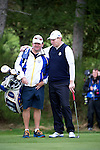 Scotsman Stephen Gallacher shares a moment with Graeme McDowells caddy during a practice session at Gleneagles Golf Course, Perthshire. Photo credit should read: Kenny Smith/Press Association Images.