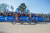 Greg Van Avermaet (BEL/BMC) leading a trio into the Vélodrome of Roubaix. <br /> <br /> 115th Paris-Roubaix 2017 (1.UWT)<br /> One day race: Compiègne > Roubaix (257km)