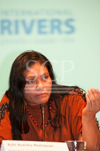 London, England. Ruth Buendia Mestoquiari speaking during a visit of Sheyla Yakarepi Juruna, Chief Almir Narayamoga Surui and Ruth Buendia Mestoquiari Ashaninka to London to highlight the impact of hydroelectric dams proposed for the rivers of the Amazon basin,