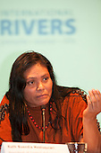 London, England. Ruth Buendia Mestoquiari speaking during a visit of Sheyla Yakarepi Juruna, Chief Almir Narayamoga Surui and Ruth Buendia Mestoquiari Ashaninka to London to highlight the impact of hydroelectric dams proposed for the rivers of the Amazon basin,