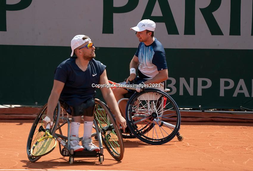 Paris, France, 6 june 2021, Tennis, French Open, Roland Garros, Quad  Wheelchair mens double final:  Sam Schroder (NED)  (R) and Dylan Alcott<br /> Photo: tennisimages.com