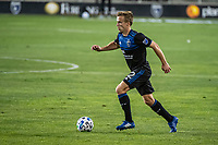 SAN JOSE, CA - OCTOBER 18: Tommy Thompson #22 of the San Jose Earthquakes dribbles the ball during a game between Seattle Sounders FC and San Jose Earthquakes at Earthquakes Stadium on October 18, 2020 in San Jose, California.