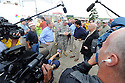 From left to right,  U.S. Senator David Vitter,  Army Corps of Engineers Colonel Ed Fleming, Louisiana Bobby Jindal and New Orleans Mayor Mitch Landrieu tour the new levee wall and pumps at the 17th Street Canal, built after Hurricane Katrina,  as Hurricane Isaac approaches New Orleans, Tuesday, Aug. 28, 2012. The Category 1 hurricane is expected to hit New Orleans overnight....(AP Photo/Cheryl Gerber)