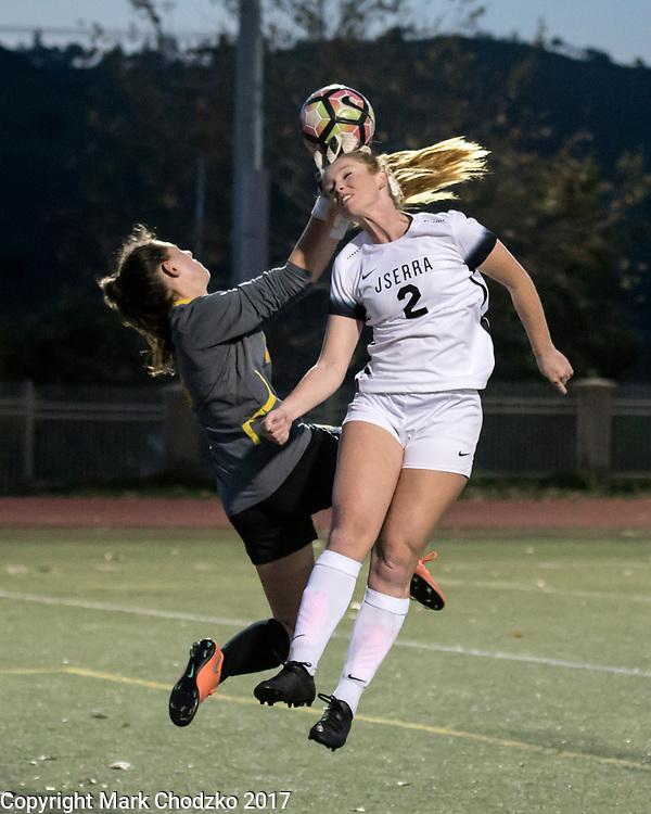 JSerra Catholic Samantha Hobert tries to head it into the goal.