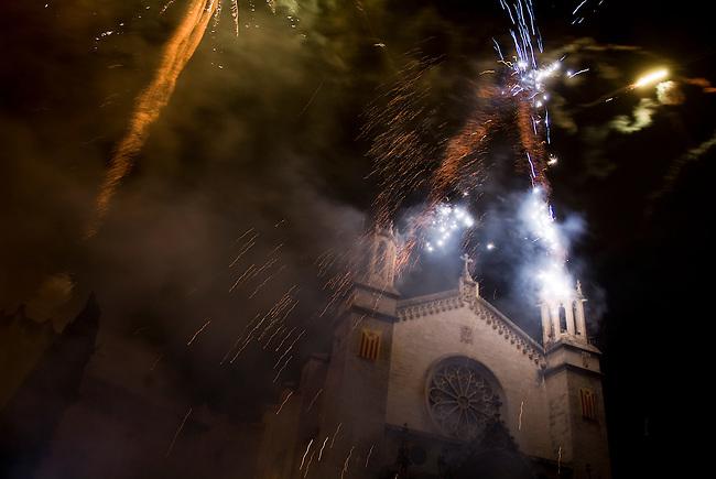 Vilafranca del Pnedes, Barcelona, Catalonia, childrens day, fireworks in the night in Vilafranca