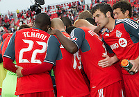 The Toronto FC huddle before the start of an MLS game between Sporting Kansas City and the Toronto FC at BMO Field in Toronto on June 4, 2011..The game ended in a 0-0 draw...