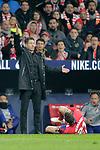 Club Atletico de Madrid's coach Diego Pablo Cholo Simeone and Lucas Hernandez  during La Liga match. November 24,2018. (ALTERPHOTOS/Alconada)