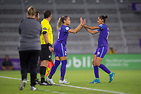 Orlando, FL - Saturday March 24, 2018: Orlando Pride defender Monica Hickman Alves (21) enters the game for Orlando Pride defender Poliana Barbosa Medeiros (19) during a regular season National Women's Soccer League (NWSL) match between the Orlando Pride and the Utah Royals FC at Orlando City Stadium. The game ended in a 1-1 draw.