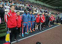 Bafetimbi Gomis (3rd L) and the Swansea bench stand while the French National anthem is played before the Barclays Premier League match between Swansea City and Bournemouth at the Liberty Stadium, Swansea on November 21 2015