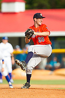 Greeneville Astros relief pitcher Eric Peterson (39) in action against the Burlington Royals at Burlington Athletic Park on June 29, 2014 in Burlington, North Carolina.  The Royals defeated the Astros 11-0. (Brian Westerholt/Four Seam Images)