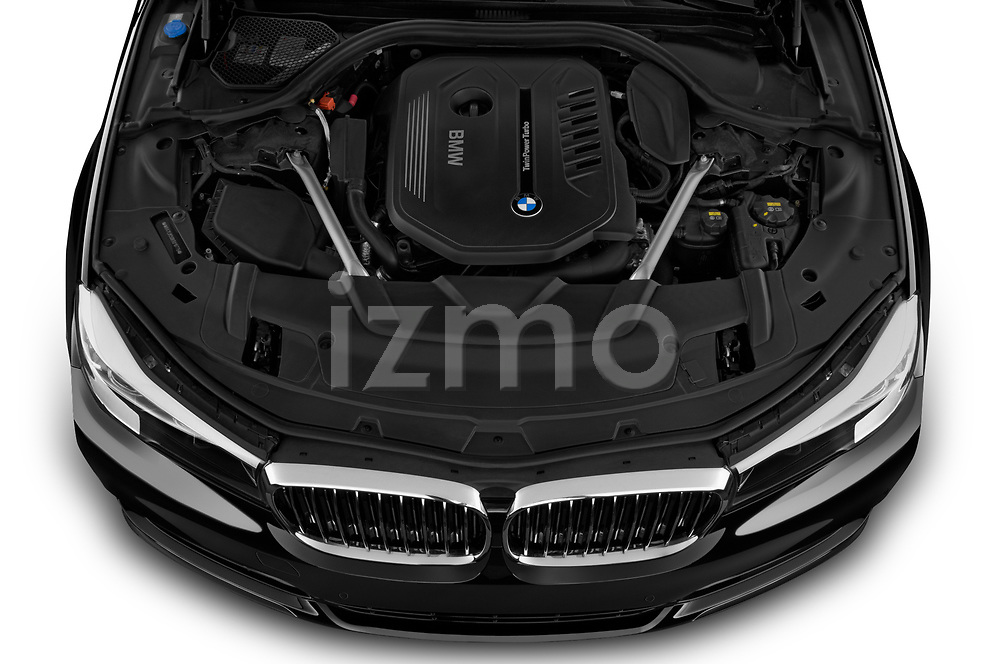 Car Stock 2019 BMW 7-Series 740i 4 Door Sedan Engine  high angle detail view