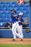 Dunedin Blue Jays designated hitter Bo Bichette (10) hits a single in the bottom of the sixth inning during a game against the Bradenton Marauders on July 17, 2017 at Florida Auto Exchange Stadium in Dunedin, Florida.  Bradenton defeated Dunedin 7-5.  (Mike Janes/Four Seam Images)