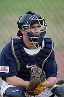 February 22, 2009:  Catcher Michael Knight (19) of West Virginia University during the Big East-Big Ten Challenge at Naimoli Complex in St. Petersburg, FL.  Photo by:  Mike Janes/Four Seam Images
