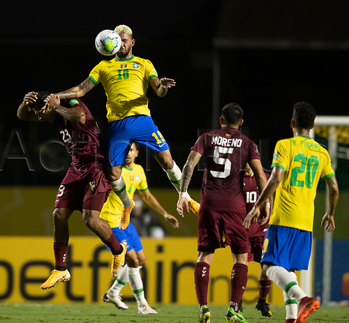 13th November 2020; Morumbi Stadium, Sao Paulo, Sao Paulo, Brazil; World Cup 2022 qualifiers; Brazil versus Venezuela;  Douglas Luiz of Brazil controls the ball in front of Rondon  of Venezuela