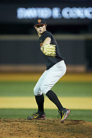 USC Trojans relief pitcher Chris Clarke (44) in action against the Wake Forest Demon Deacons at David F. Couch Ballpark on February 24, 2017 in  Winston-Salem, North Carolina.  The Demon Deacons defeated the Trojans 15-5.  (Brian Westerholt/Four Seam Images)
