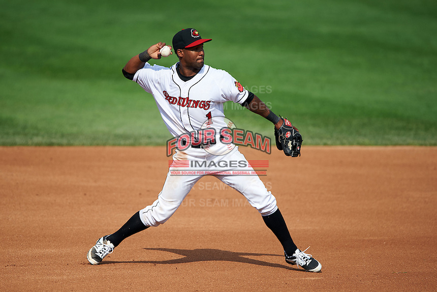Rochester Red Wings shortstop Danny Santana (1) throws to first after fielding a ground ball during a game against the Indianapolis Indians on June 10, 2015 at Frontier Field in Rochester, New York.  Indianapolis defeated Rochester 5-3.  (Mike Janes/Four Seam Images)