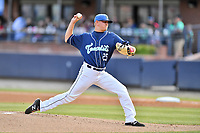 Asheville Tourists starting pitcher Will Gaddis (25) delivers a pitch during a game against the Columbia Fireflies at McCormick Field on April 14, 2018 in Asheville, North Carolina. The Fireflies defeated the Tourists 7-6. (Tony Farlow/Four Seam Images)