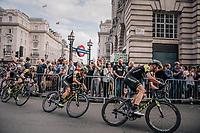 Team Mitchelton-Scott maneuvering Caleb Ewan (AUS/Michelton-Scott) towards the front in the last lap<br /> <br /> Stage 8: London to London (77km)<br /> 15th Ovo Energy Tour of Britain 2018