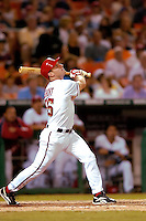 3 September 2005: Rick Short, infielder for the Washington Nationals, at bat during a game against the Philadelphia Phillies. The Nationals defeated the Phillies 5-4 at RFK Stadium in Washington, DC. <br />