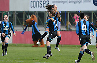 20180414 - AALTER , BELGIUM : Brugge's Barbara Lezy pictured celebrating her goal and Brugge's lead with Kay Cuvelier (left) during the 21st matchday in the 2e Nationale Women's league , a womensoccer game between Club Brugge Dames and GFA Sinaai , in Aalter , saturday 15 th April 2018 . PHOTO SPORTPIX.BE   DAVID CATRY