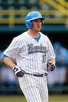 Cody Regis #18 of the UCLA Bruins during a baseball game against the Washington Huskies at Jackie Robinson Stadium on March 17, 2013 in Los Angeles, California. (Larry Goren/Four Seam Images)