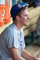 Oakland Athletics pitcher Chris Bassitt (12) sits in the dugout during a rehab assignment against the Inland Empire 66ers at San Manuel Stadium on July 6, 2017 in San Bernardino, California. The Ports defeated the 66ers 7-6.  (Brian Westerholt/Four Seam Images)