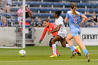 Chicago, IL - Saturday July 30, 2016: Michele Dalton, Tiffany McCarty during a regular season National Women's Soccer League (NWSL) match between the Chicago Red Stars and FC Kansas City at Toyota Park.