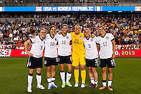 """The """"Jersey Girls"""" United States (USA) midfielders Heather O'Reilly (9), Carli Lloyd (10), Yael Averbuch (16), goalkeeper Jill Loyden (21), defender Christie Rampone (3), and midfielder Tobin Heath (17) pose for a photo after the match. The women's national team of the United States defeated the Korea Republic 5-0 during an international friendly at Red Bull Arena in Harrison, NJ, on June 20, 2013."""