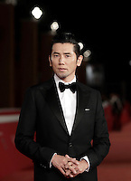 "Japanese actor Masahiro Motoki poses on the red carpet to present the movie ""The Long Excuse"" during the international Rome Film Festival."
