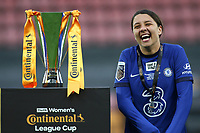 14th March 2021; Vicarage Road, Watford, Herts;  Sam Kerr Chelsea celebrates next to the trophy her victory of the FA Womens Continental Tyres League Cup final game between Bristol City and Chelsea at Vicarage Road Stadium in Watford. FA Womens Continental Tyres Cup Final