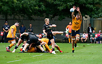 Thursday 9th September 20218 <br /> <br /> Alan )'Connor charges down Aled Davies kick during the pre-season friendly between Saracens and Ulster Rugby at the Honourable Artillery Company Grounds, Armoury House, London, England. Photo by John Dickson/Dicksondigital
