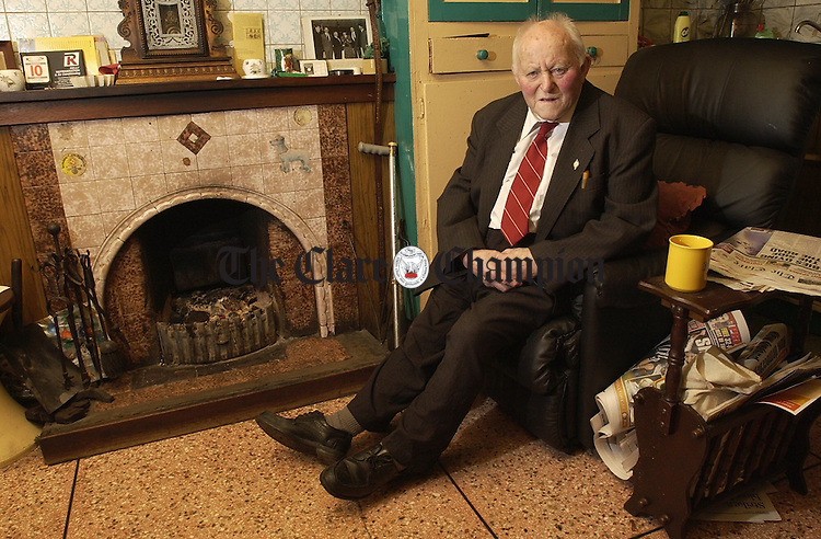 Tom Malone relaxes at home in  Miltown Malbay. Photograph by John Kelly.