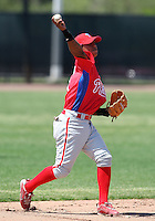 March 30, 2010:  Shortstop Edgar Duran of the Philadelphia Phillies organization during Spring Training at the Carpenter Complex in Clearwater, FL.  Photo By Mike Janes/Four Seam Images