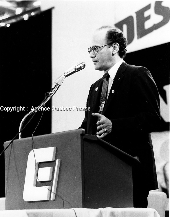 Montreal, CANADA, June 30, 1984 file photo - CEQ President Yvon Charbonneau during his closing speech of the 1984 convention at Montreal's Convention Centre.<br /> <br /> Photo : Agence Quebec Presse - Pierre Roussel
