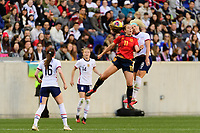 HARRISON, NJ - MARCH 08: Alexia Putellas #11 of Spain goes up for a header with Julie Ertz #8 of the United States during a game between Spain and USWNT at Red Bull Arena on March 08, 2020 in Harrison, New Jersey.