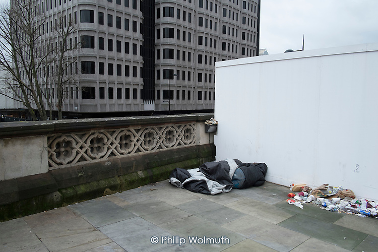 Rough sleepers outside St.Pancras station, London.