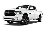 Stock pictures of low aggressive front three quarter view of 2017 Ram 1500 Night Crew 4 Door Pick Up