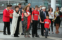 """Pictured: Rhofdri Morgan's wife Julie (C) with Lorraine Barrett (L) surrounded by relatives after the service. Wednesday 31 May 2017<br />Re: The funeral for former first minister Rhodri Morgan has taken place in the Senedd in Cardiff Bay.<br />The ceremony, which was open to the public, was conducted by humanist celebrant Lorraine Barrett.<br />She said the event was """"a celebration of his life through words, poetry and music"""".<br />Mr Morgan, who died earlier in May aged 77, served as the Welsh Assembly's first minister from 2000 to 2009.<br />He was credited with bringing stability to the fledgling assembly during his years in charge.<br />It is understood Mr Morgan had been out cycling near his home when he died."""