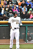 C.J. Cron (24) of the Salt Lake Bees at bat against the Sacramento River Cats at Smith's Ballpark on April 3, 2014 in Salt Lake City, Utah.  (Stephen Smith/Four Seam Images)