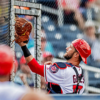 27 February 2019: Washington Nationals newly acquired catcher Yan Gomes pulls in a pop-up during a game against the Houston Astros at the Ballpark of the Palm Beaches in West Palm Beach, Florida. The Nationals defeated the Astros 14-8 in their Spring Training Grapefruit League game. Mandatory Credit: Ed Wolfstein Photo *** RAW (NEF) Image File Available ***