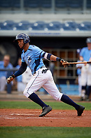 Charlotte Stone Crabs center fielder Angel Moreno (1) follows through on a swing during a game against the Palm Beach Cardinals on April 12, 2017 at Charlotte Sports Park in Port Charlotte, Florida.  Palm Beach defeated Charlotte 8-7.  (Mike Janes/Four Seam Images)