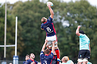 Mark Bright of London Scottish wins the line out during the Championship Cup match between London Scottish Football Club and Nottingham Rugby at Richmond Athletic Ground, Richmond, United Kingdom on 28 September 2019. Photo by Carlton Myrie / PRiME Media Images