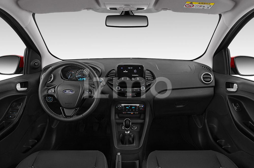 Stock photo of straight dashboard view of a 2019 Ford Ka+ Ultimate 5 Door Hatchback