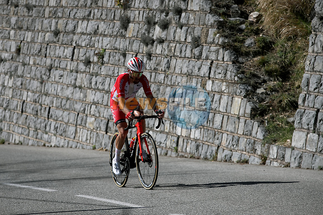 Simon Geschke (GER) Cofidis attacks on La Colmaine with 11km to go during Stage 7 of Paris-Nice 2021, running 119.2km from Le Broc to Valdeblore La Colmiane, France. 13th March 2021.<br /> Picture: ASO/Fabien Boukla | Cyclefile<br /> <br /> All photos usage must carry mandatory copyright credit (© Cyclefile | ASO/Fabien Boukla)