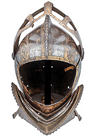 BNPS.co.uk (01202) 558833. <br /> Pic: OlympiaAuctions/BNPS<br /> <br /> A 460-year-old gilt helmet has set a world record selling at auction for £120,000.<br /> <br /> The important Renaissance helmet was bought by the Philadelphia Museum of Art and will now be reunited with other elaborate pieces of armour already in its collection.<br /> <br /> The previously undiscovered helmet was found in a house in Europe by Thomas Del Mar from London-based Olympia Auctions, who said it was one of the finest pieces to come onto the market for more than a decade.<br /> <br /> It was estimated to fetch £40-60,000 but fierce competition saw it sell for double that.