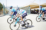 Kazakh Champion Alexey Lutsenko (KAZ) and Astana-Premier Tech team mates head to sign on before the start of Stage 3 of the 2021 UAE Tour running 166km from Al Ain to Jebel Hafeet, Abu Dhabi, UAE. 23rd February 2021.  <br /> Picture: Eoin Clarke | Cyclefile<br /> <br /> All photos usage must carry mandatory copyright credit (© Cyclefile | Eoin Clarke)