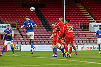 O's Sam Ling heads O's into the lead during Leyton Orient vs Brighton & Hove Albion Under-21, EFL Trophy Football at The Breyer Group Stadium on 8th September 2020
